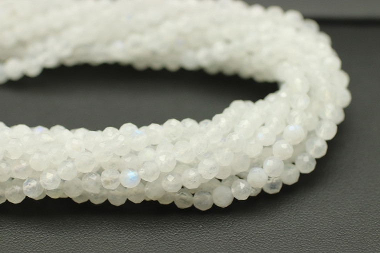 4mm Moonstone, Natural, Faceted Round