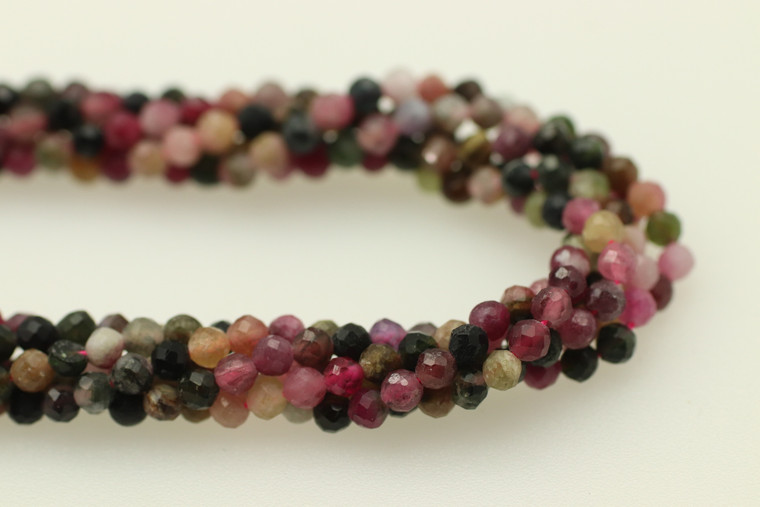 Tourmaline, Mixed, Natural, Faceted Round, 3mm