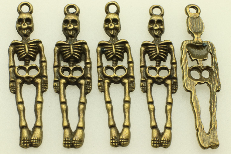 Hanging Skelton, 39x9x2mm, Antique Bronze Plated (Metal Alloy), approx 12 per bag