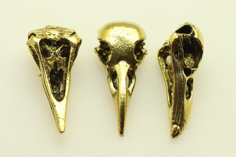 Crow Skull, Double Sided, 34x12x10mm, Antique Gold Plated (metal Alloy), approx 4 per bag