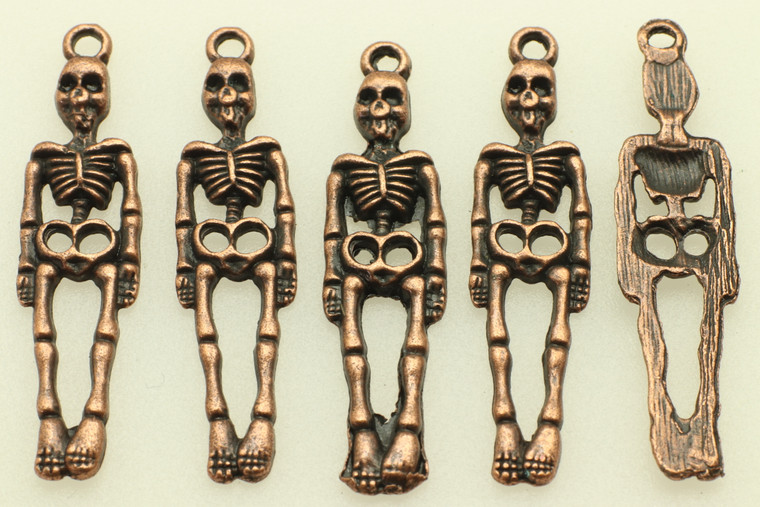 Hanging Skelton, 39x9x2mm, Antique Copper Plated (Metal Alloy), approx 12 per bag