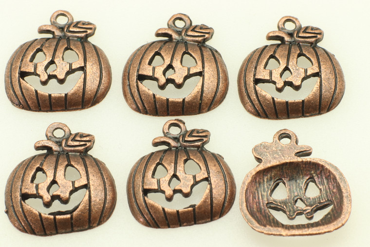 Jack o Lantern, 18x16x3mm, Antique Copper Plated (Metal Alloy), approx 15 per bag