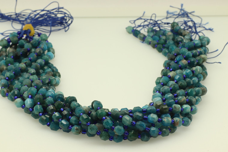 Apatite, Neon, Natural, Faceted Off Round, 6mm