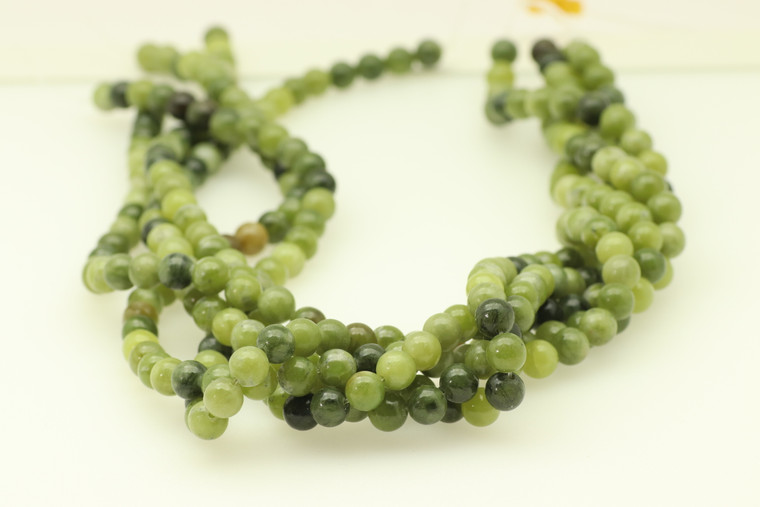 6mm, Jade, Pea Green, Natural, Smooth Round Beads