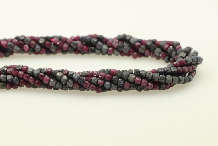 4mm, Ruby, Sapphire, Heated, Faceted Cube Beads