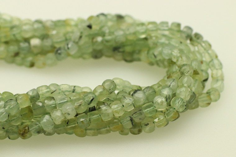 4mm, Prehnite, Natural, Faceted Cube Beads