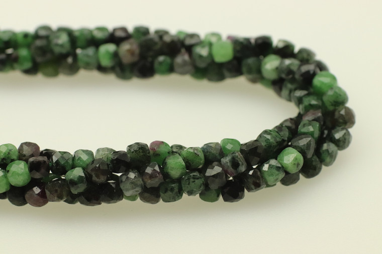 4mm, Ruby Ziosite, Natural, Faceted Cube Beads