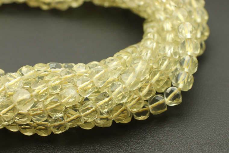 4mm, Lemon Quartz, Heated, Faceted Cube Beads
