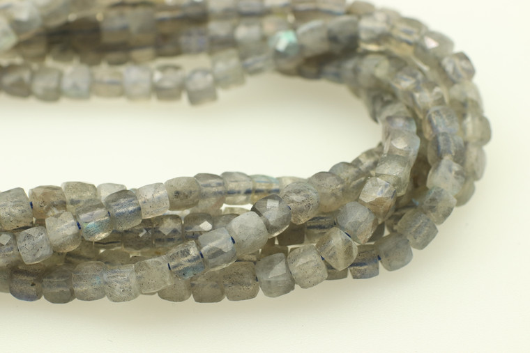 4mm, Labradorite, Natural, Faceted Cube Beads