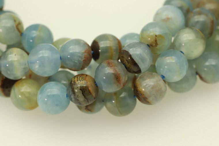 6mm, Selenite, Blue, Natural, Smooth Round