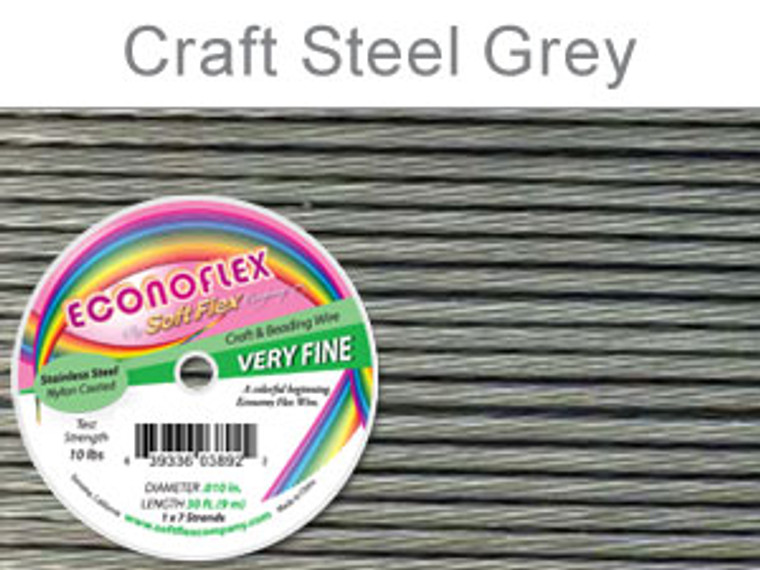 ECONOFLEX VERY FINE WIRE .010 DIA. 30 FT (9M) 1X7 STRAND STEEL GREY