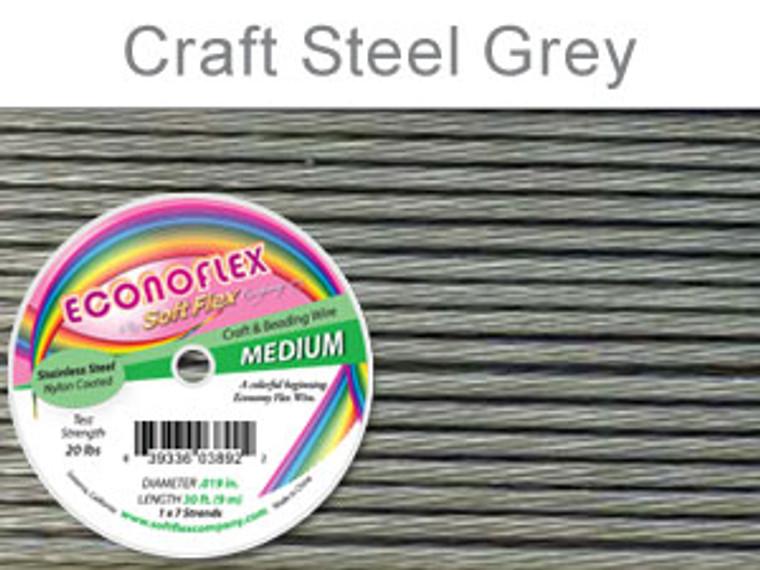 ECONOFLEX MEDIUM WIRE .019 DIA. 30 FT (9M) 1X7 STRAND STEEL GREY