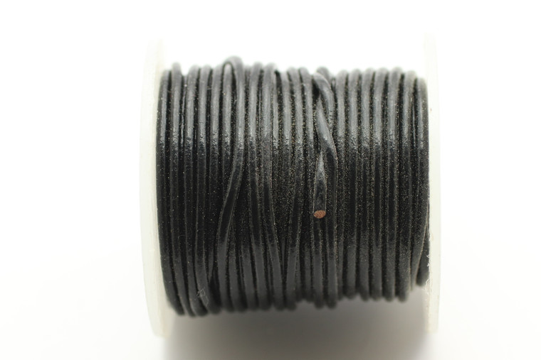 Leather Black 1.5mm Round  10 meters