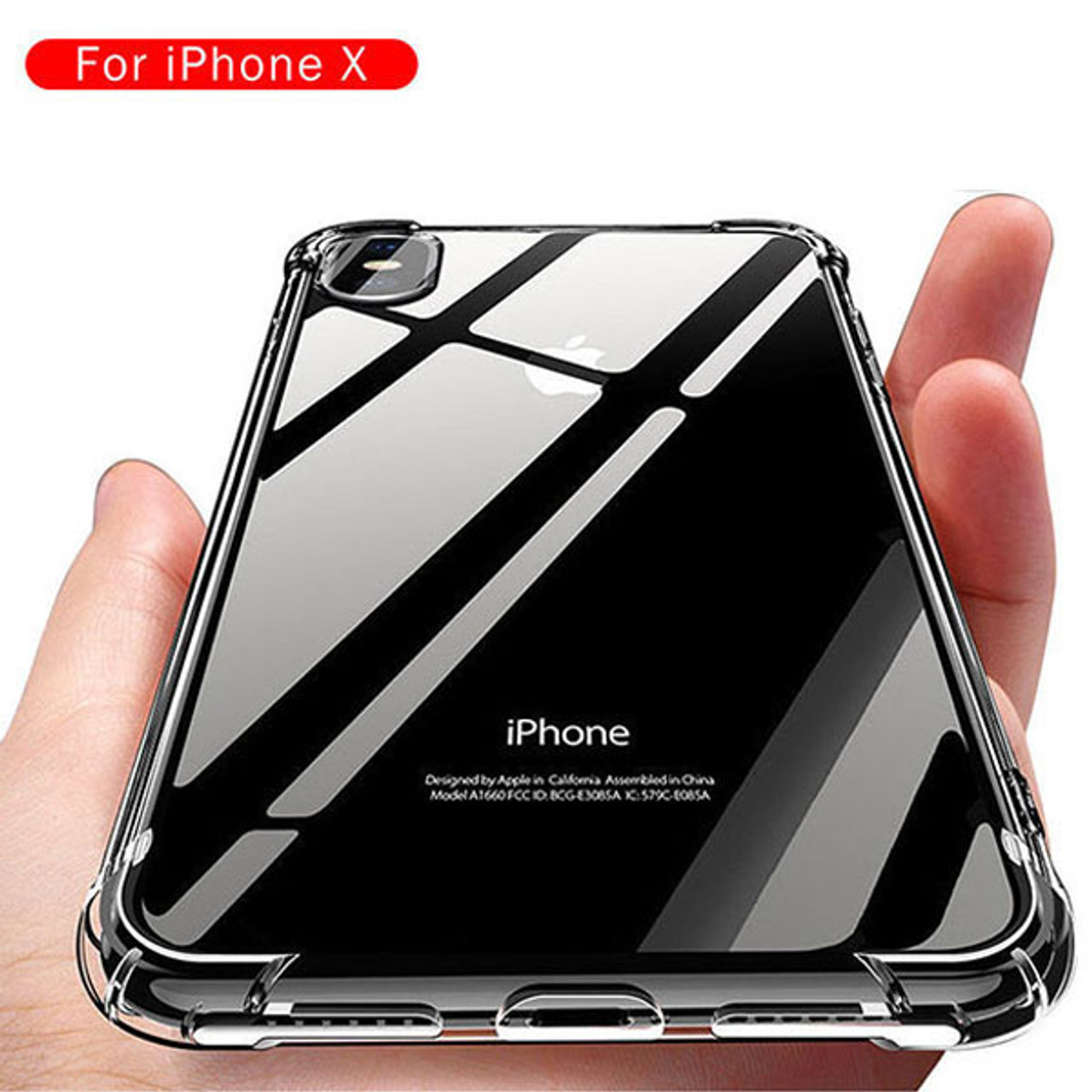 Product image for iPhone X Shockproof Slim Soft Bumper Hard Back Case Cover Clear | CX Computer Superstore
