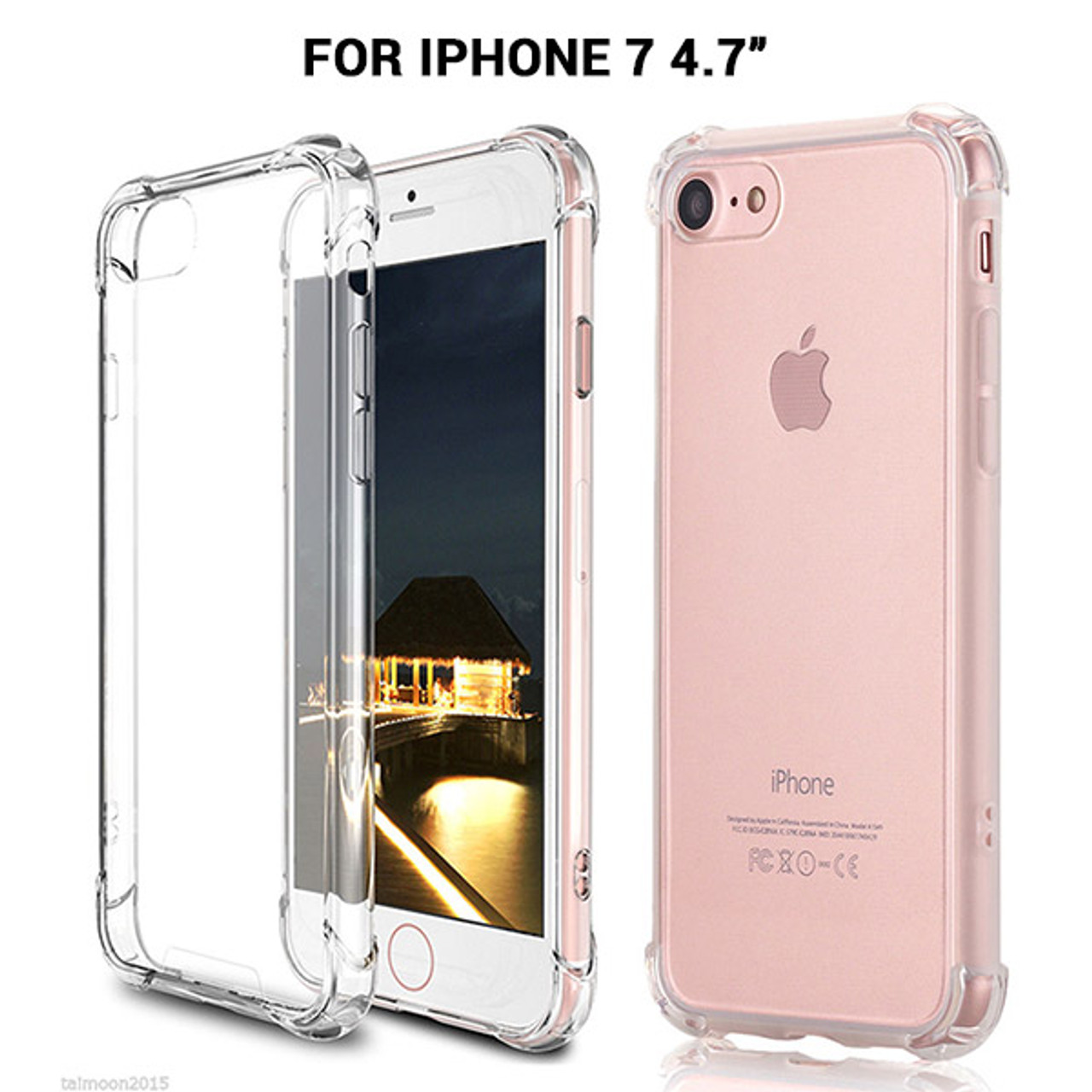 Product image for iPhone 7 Shockproof Slim Soft Bumper Hard Back Case Cover Clear   CX Computer Superstore
