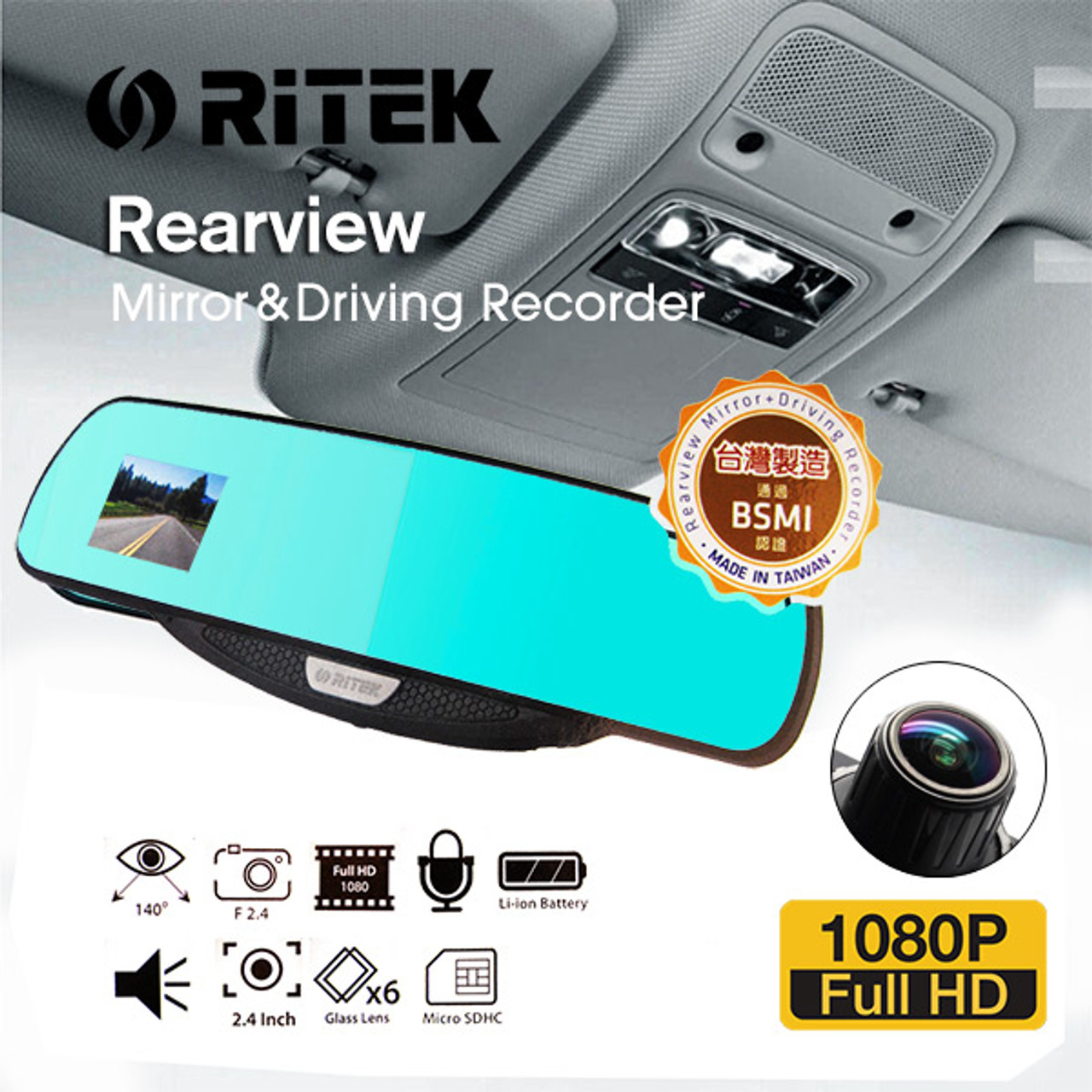 Product image for Ritek Full HD 1080 CRMT 01 Rearview Mirror + Driving Recorder | CX Computer Superstore