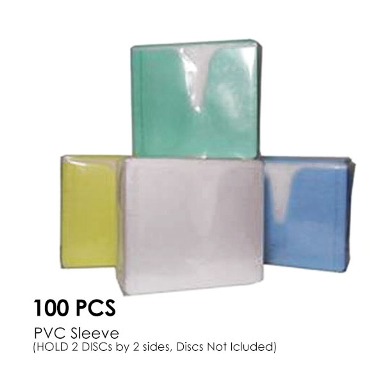 Product image for CD-DVD Colour PVC Sleeve Hold 2 Disc (Double Sided / 100PCS/Pack)   CX Computer Superstore