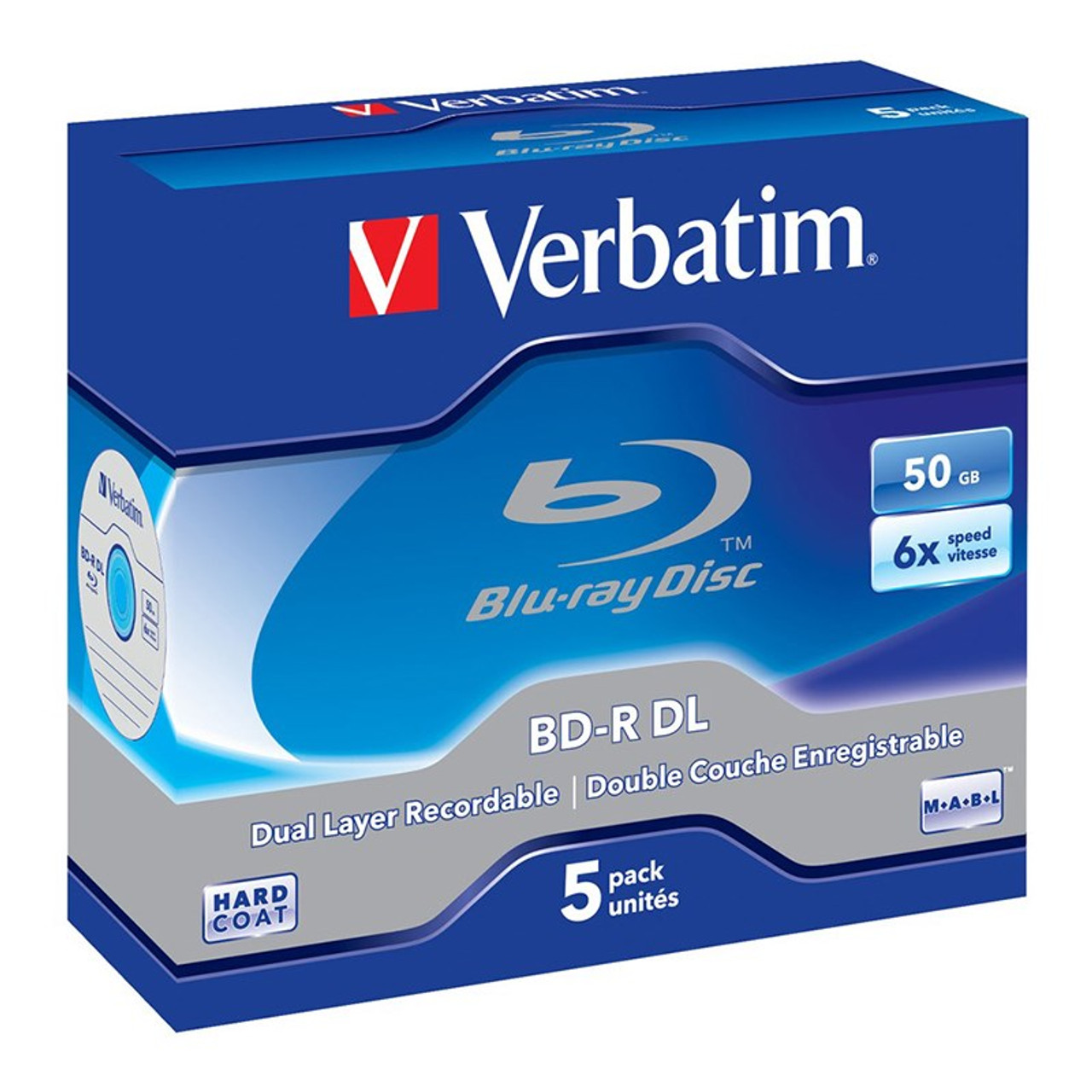 Image for Verbatim 43748 50GB Silver BD-R Dual Layer Recordable Disc - 5-Pack Case CX Computer Superstore