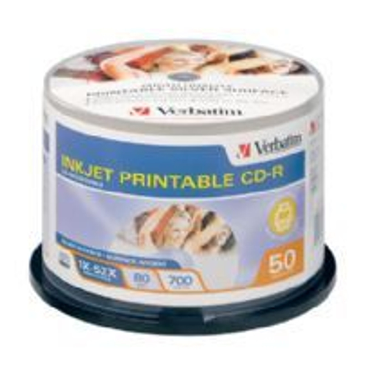 Image for Verbatim CD-R 80 Min Silver IJ Printable 50 Pack 52x CX Computer Superstore