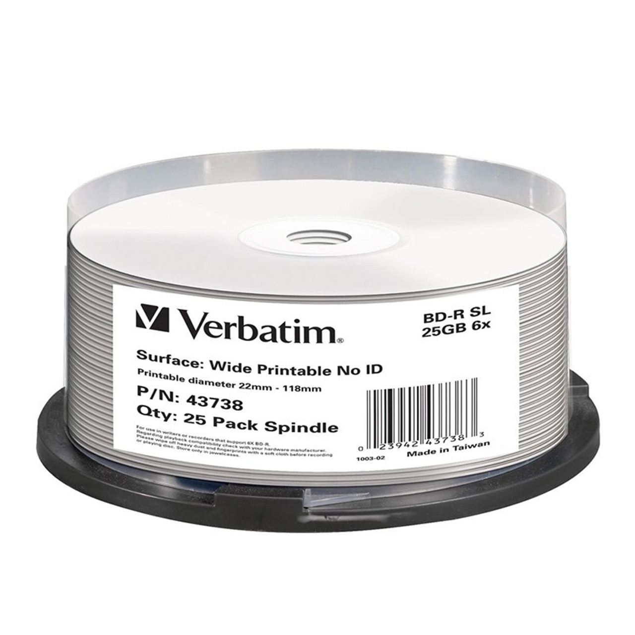 Image for Verbatim 43738 25GB BD-R Inkjet Printable Recordable Disc - 25-Pack Spindle CX Computer Superstore