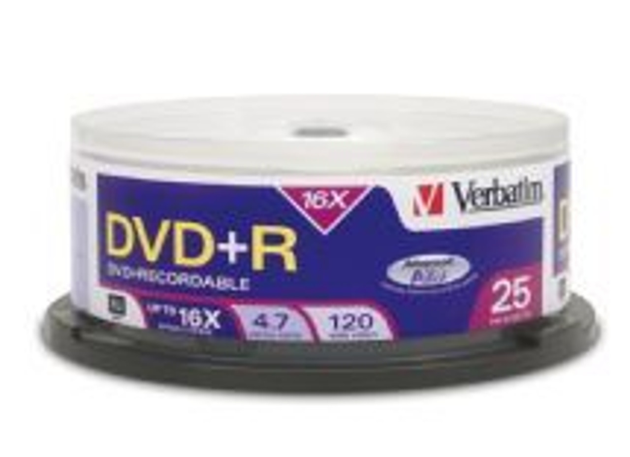 Image for Verbatim DVD+R 4.7GB 25 Pack Spindle 16x (95033) CX Computer Superstore