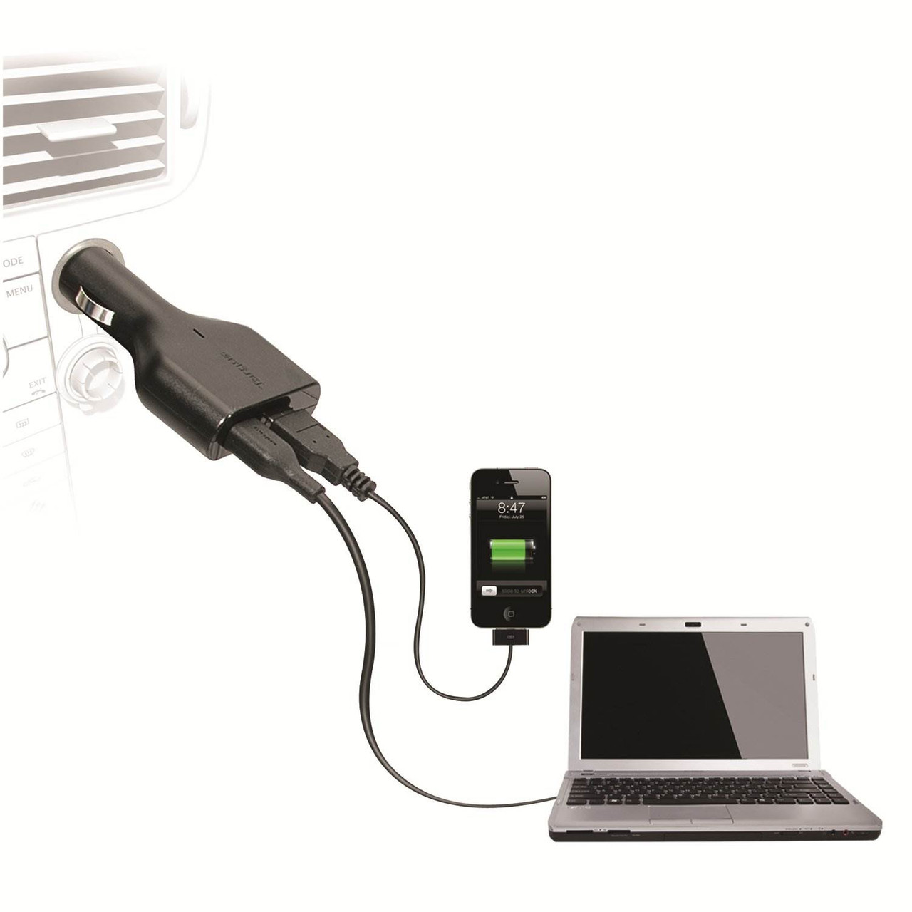 Product image for Targus Laptop Car Charger with USB Fast Charging Port | CX Computer Superstore