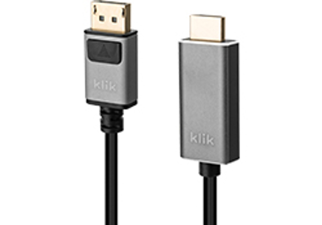 Product image for Klik 2m DisplayPort Male to HDMI Male Cable | CX Computer Superstore
