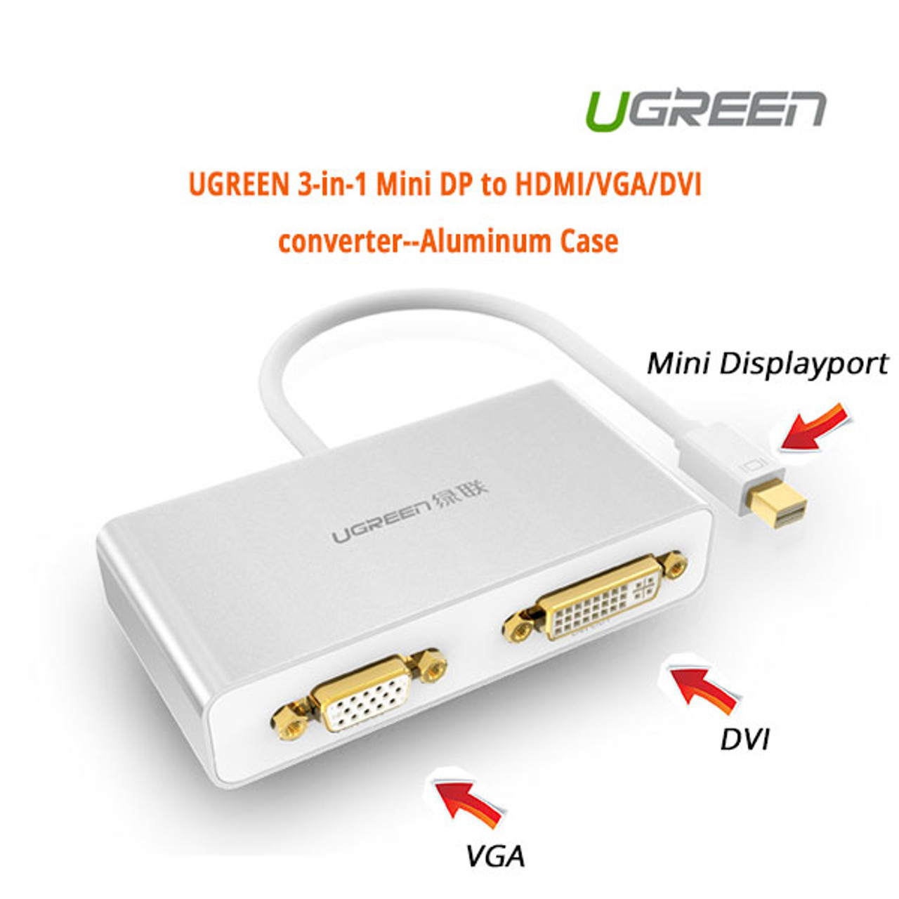 Product image for Adapter 3-in-1 Mini DisplayPort to HDMI&VGA&DVI--white | CX Computer Superstore
