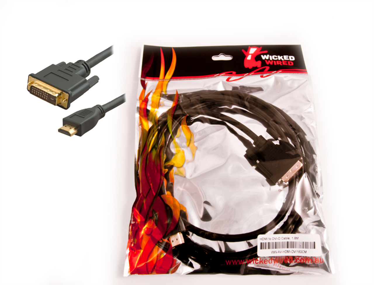 Product image for 5m HDMI 1.3 To DVI-D Male Adapter Cable | CX Computer Superstore
