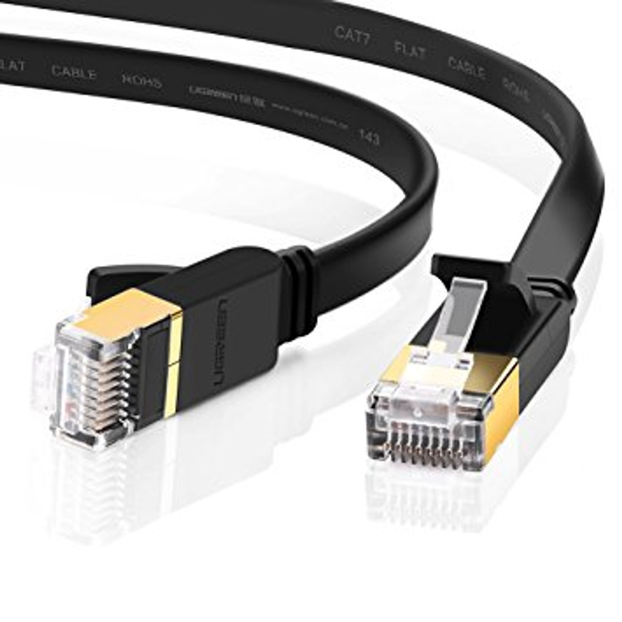 Product image for 10m Black 10GbE Shielded CAT7 Network Cable - Flat | CX Computer Superstore
