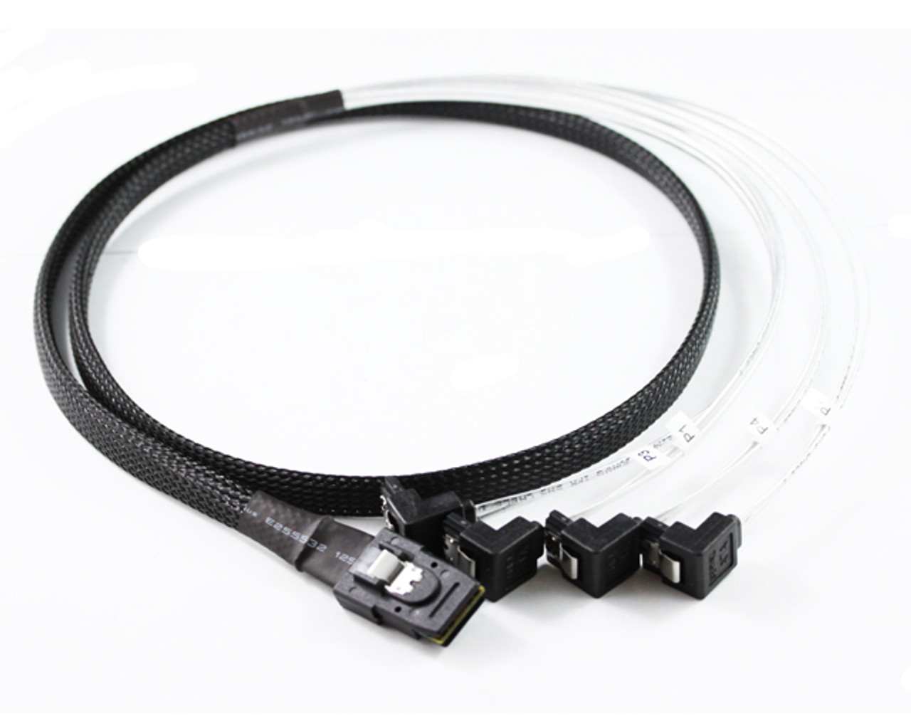 Product image for 1M Mini SAS to 4 x Right Angle SATA Cable   CX Computer Superstore