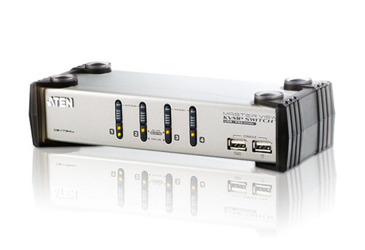 Product image for Aten 4 Port USB KVMP Switch with audio and USB 1.1 Hub - Cables Incl | CX Computer Superstore