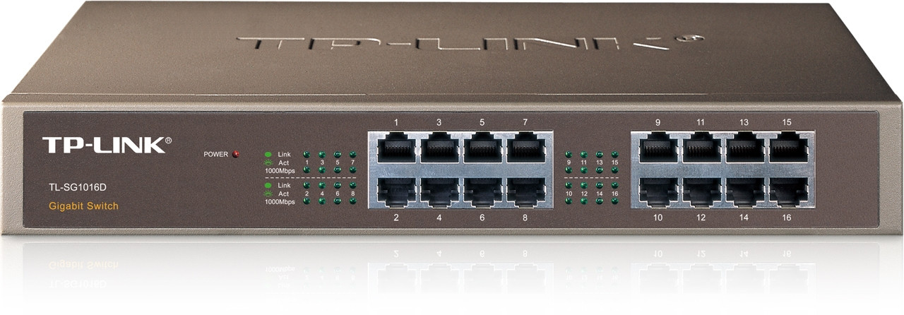 Product image for TP-Link 16 Port Gigabit Rackmount Switch 13-in Case no brackets | CX Computer Superstore