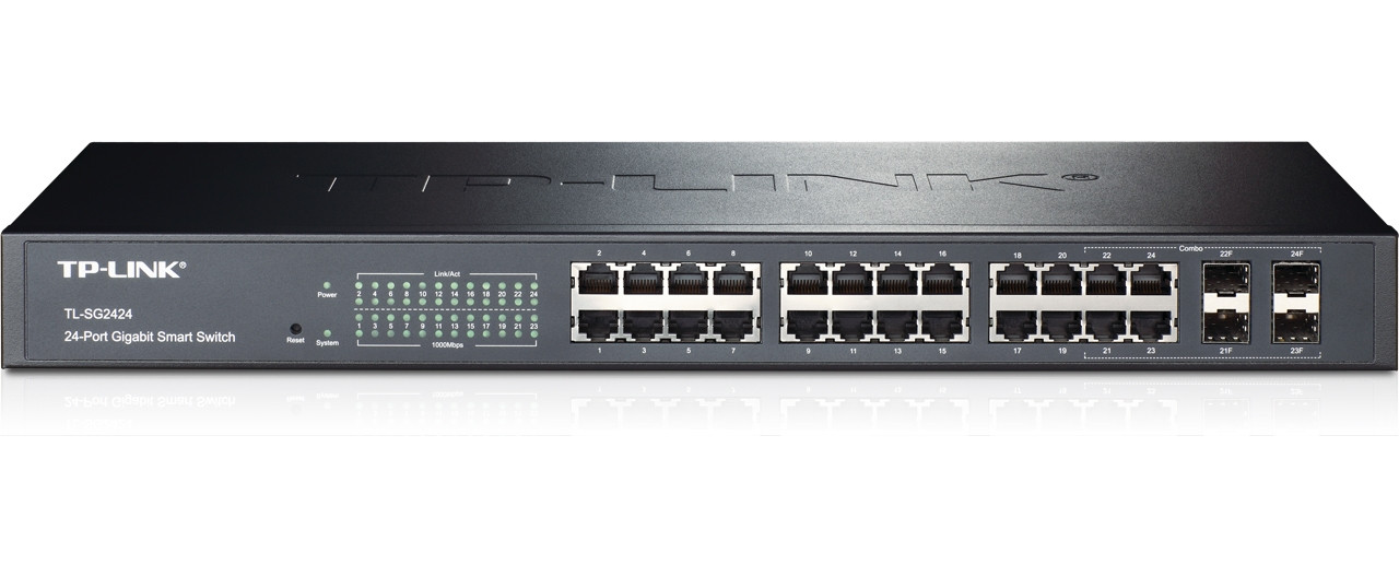 Product image for TP-Link 24-Port Gigabit Smart Switch with 4 Combo SFP Slots | CX Computer Superstore