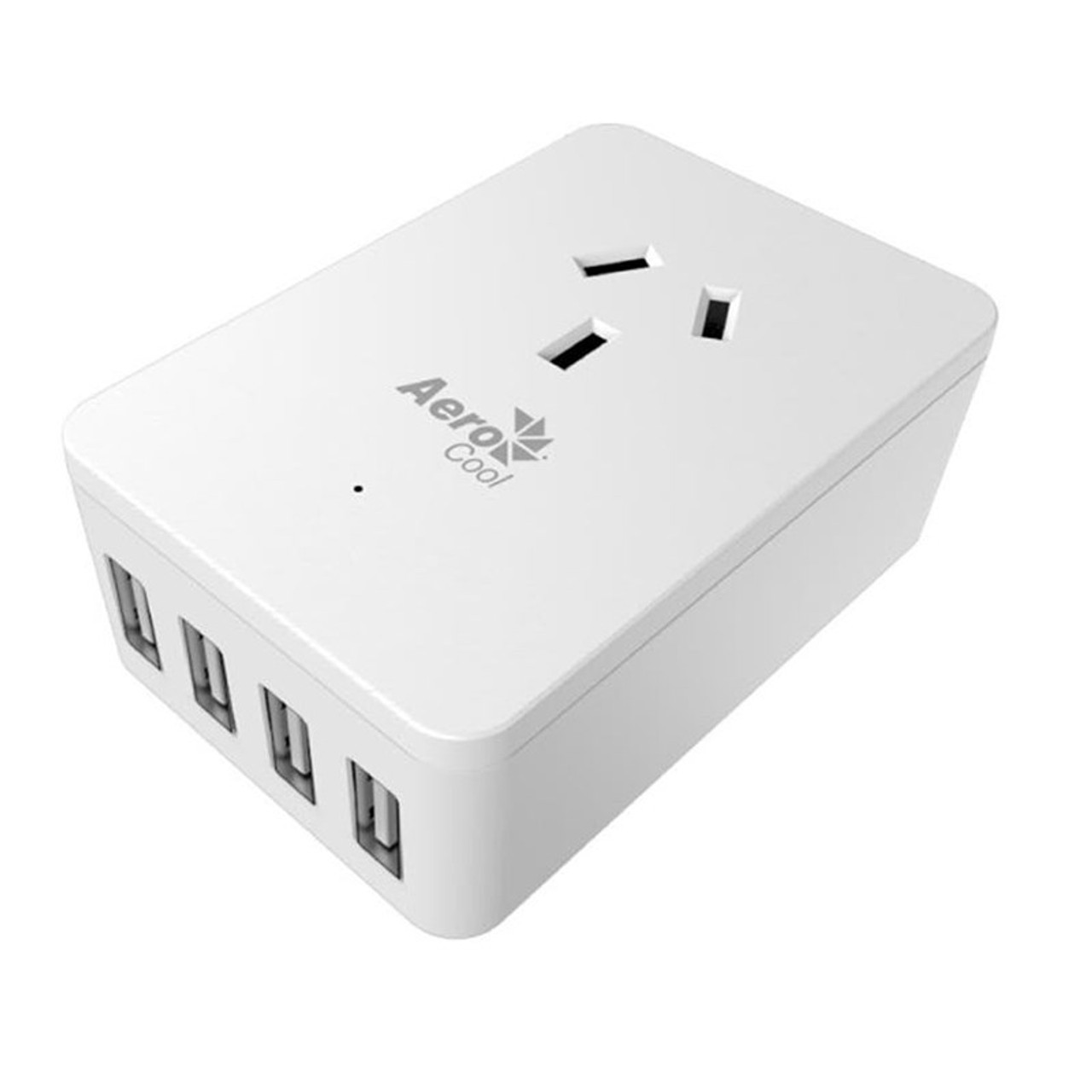Image for Aerocool ASA-ST1A4U2 WH Smart Charge 1 AC and 4 Port USB Fast Charge CX Computer Superstore