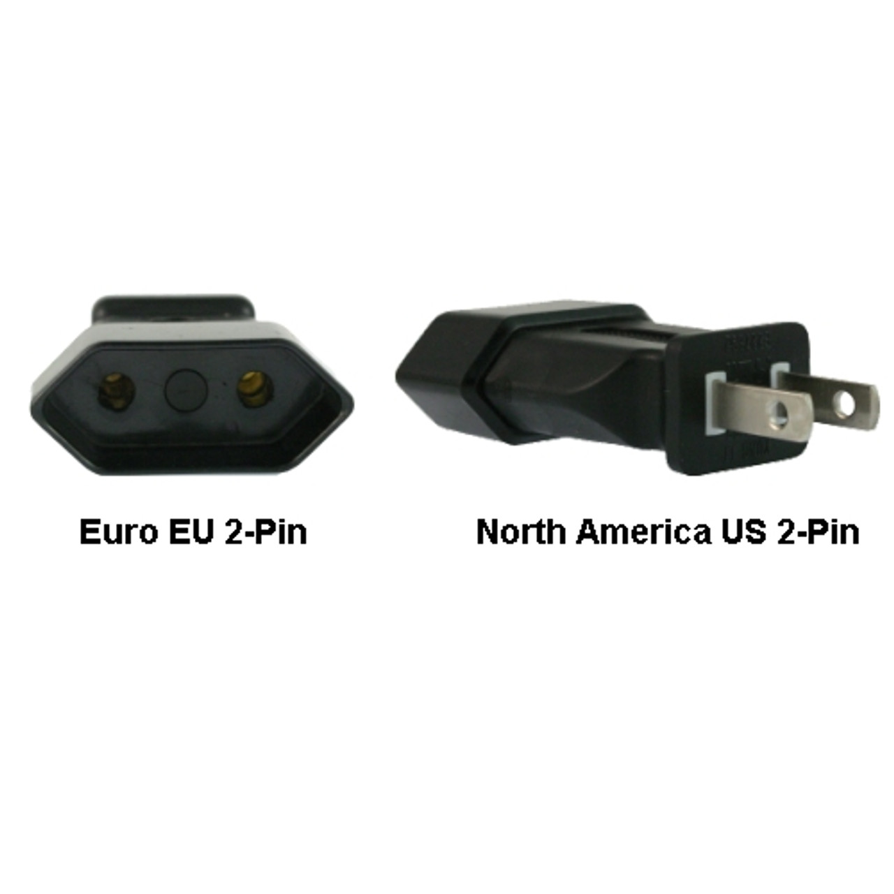 Product image for Euro EU to US 2-Pin Power Plug Adapter | CX Computer Superstore