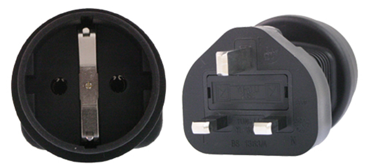 Product image for Schuko to UK 3 Pin Plug Adapter   CX Computer Superstore