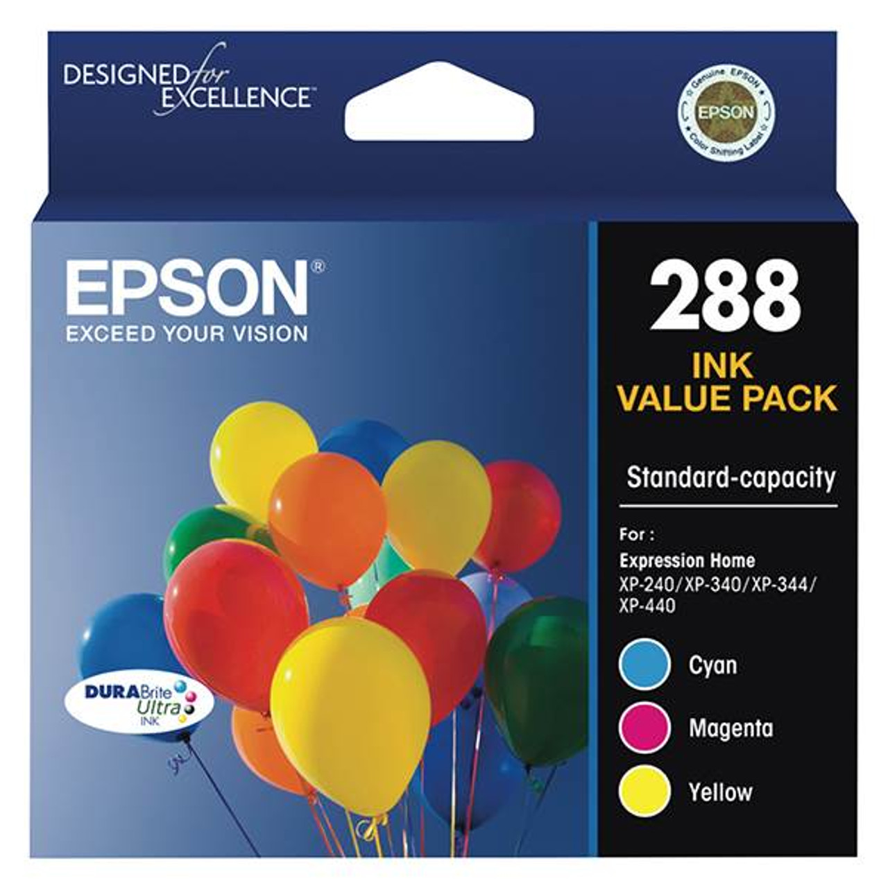 Image for Epson 288 Standard Capacity DURABrite Ultra CMY Colour Ink Cartridge Pack CX Computer Superstore