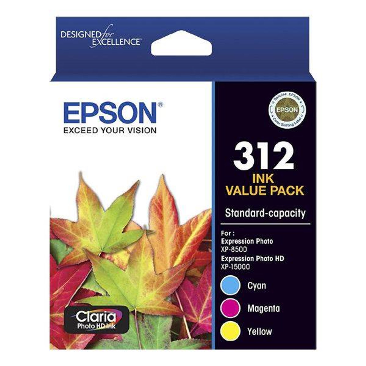 Image for Epson 312 Standard Capacity Claria Photo HD CMY Colour Ink Cartridge Pack CX Computer Superstore