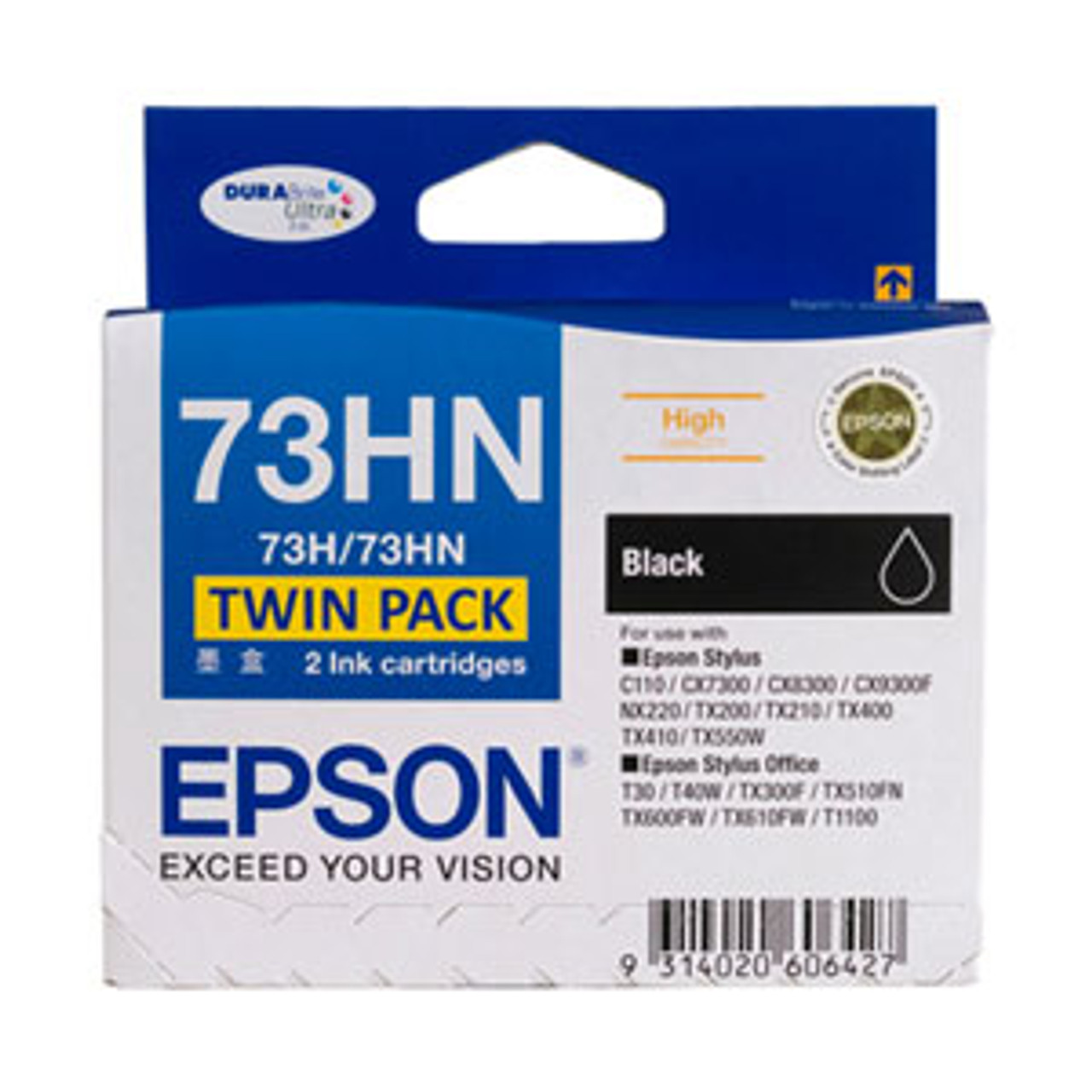Image for Epson 73HN - High Capacity DURABrite Ultra - Black Ink Cartridge Twin Pack CX Computer Superstore