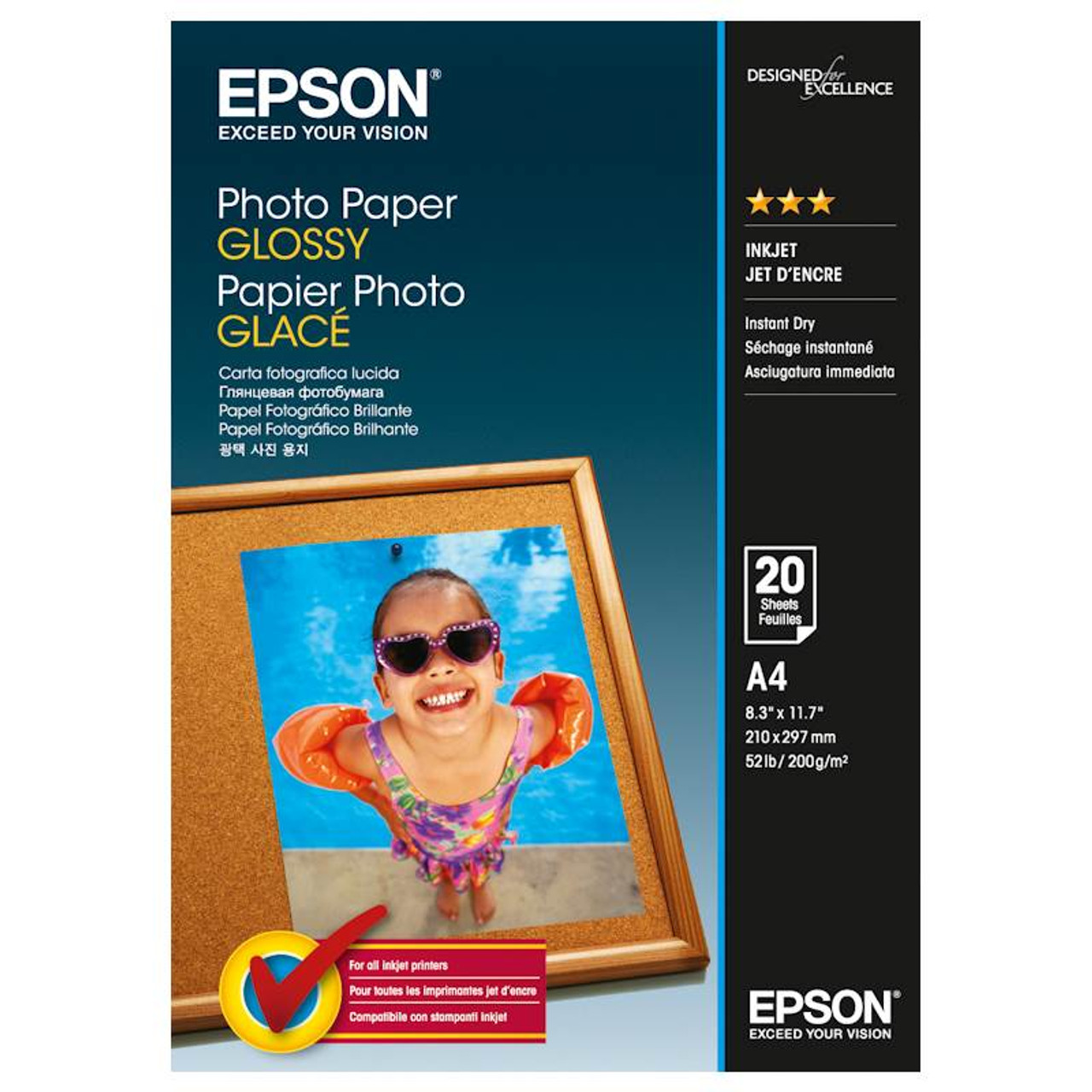 Image for Epson Genuine Photo Paper Glossy A4 50 Sheet (200gsm) - C13S042539 CX Computer Superstore