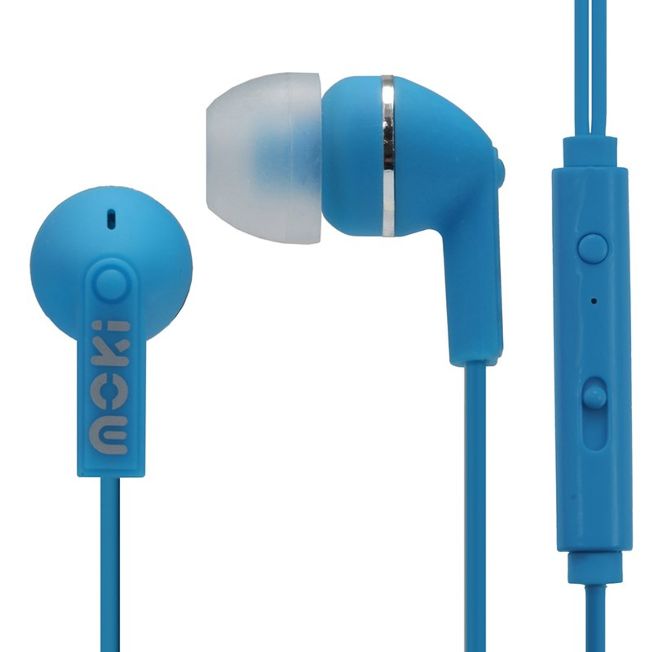 Image for Moki Noise Isolation Earbuds with In-Line Mic/Control - Blue CX Computer Superstore