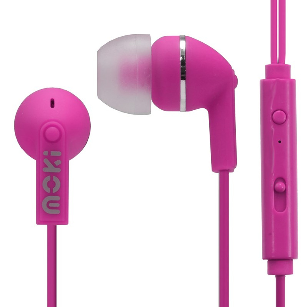 Image for Moki Noise Isolation Earbuds with In-Line Mic/Control - Pink CX Computer Superstore