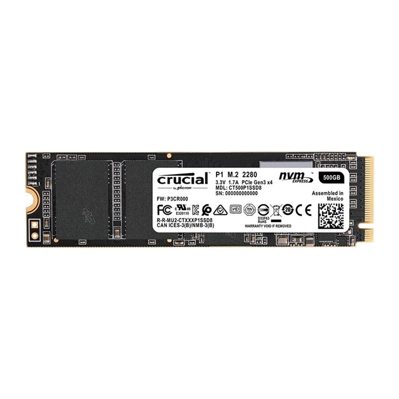 Image for Crucial P1 500GB NVMe M.2 PCIe 3D NAND SSD CT500P1SSD8 CX Computer Superstore