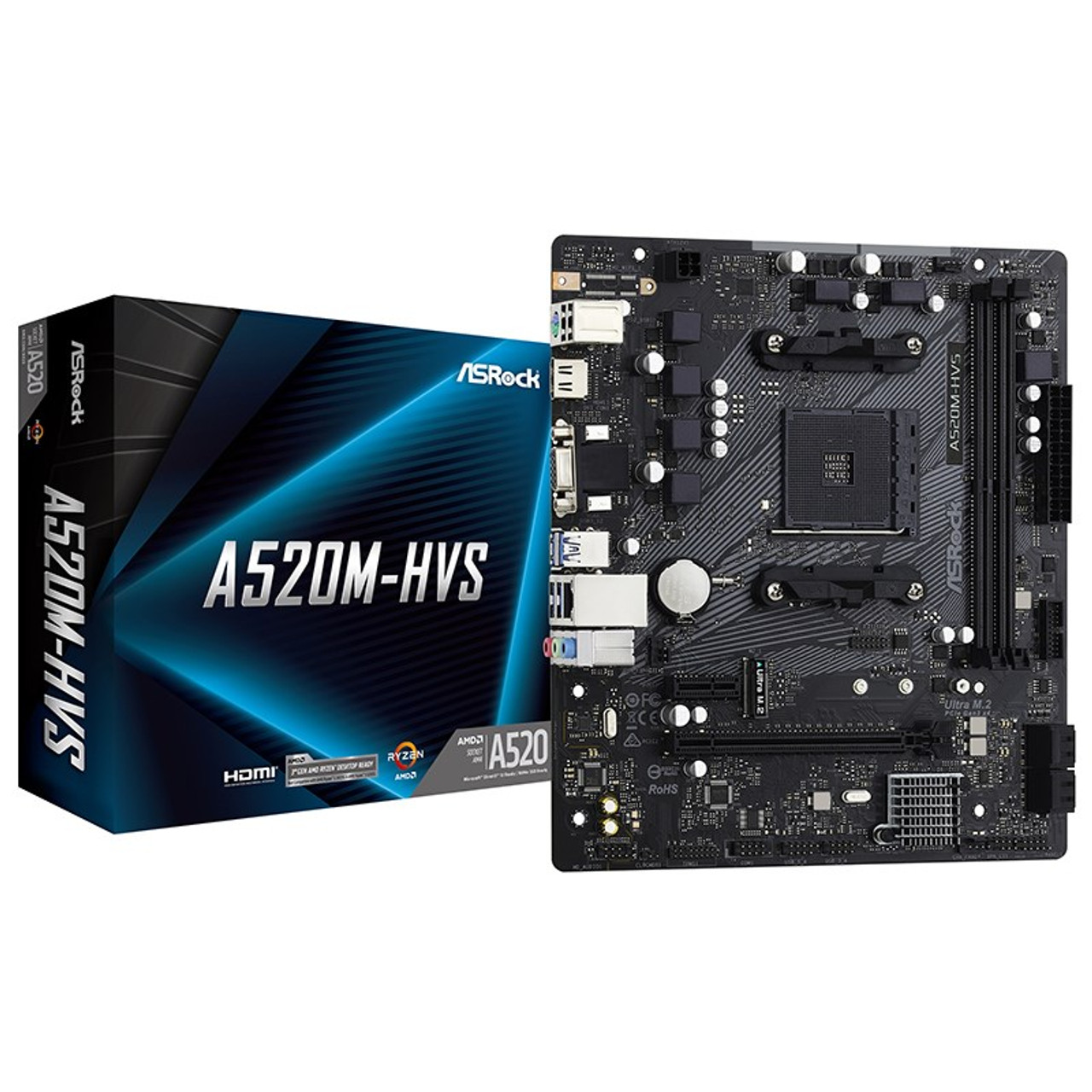 Image for ASRock A520M-HVS AM4 Micro-ATX Motherboard CX Computer Superstore