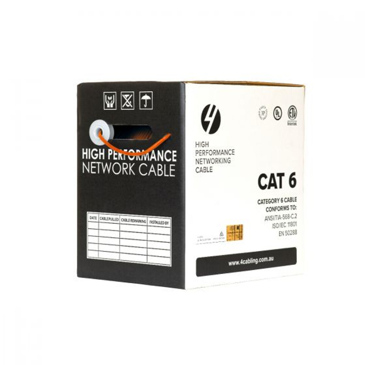 4Cabling CAT6 Ethernet 305m Cable Reel Box. UTP LAN Cable with Solid Conductor. Orange