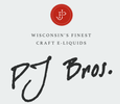 PJ Bros E -liquids  Made in Wisconsin USA Available in 30ml,60ml,120ml Nic levels : 0,1.5,3,6