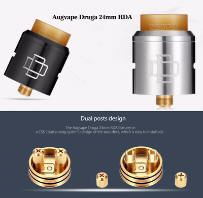 A long awaited atomizer designed by Indonesia's Pride Coil Builder Mike @vapeshouse and @AugVapeofficial . Mike has been helping us to design this RDA at the very beginning. A design that we have not seen before in RDA and probably in most atomizers engineering. DRŪGA RDA is the 1st atty which use CSS ( Clamp Snag System ) for it dual posts to make your coils installation easy peasy, Allows for a Wider Variety of Coil Structure Compatibility.