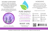 Body Oil (Lavender) Pure Energy Apothecary Label