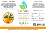 Body Oil (Satsuma) Pure Energy Apothecary Label